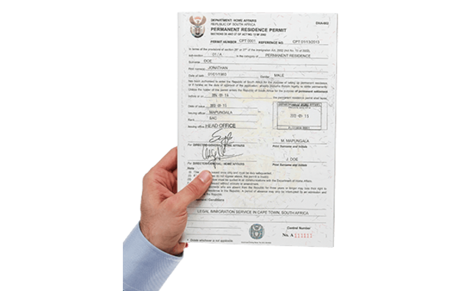 South african permanent residence certificate