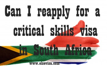 Can I reapply for a critical skills visa in South Africa