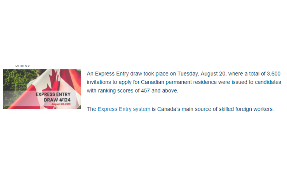 Second draw for Express Entry witnesses 3,600 invitations for Canadian Permanent Residence